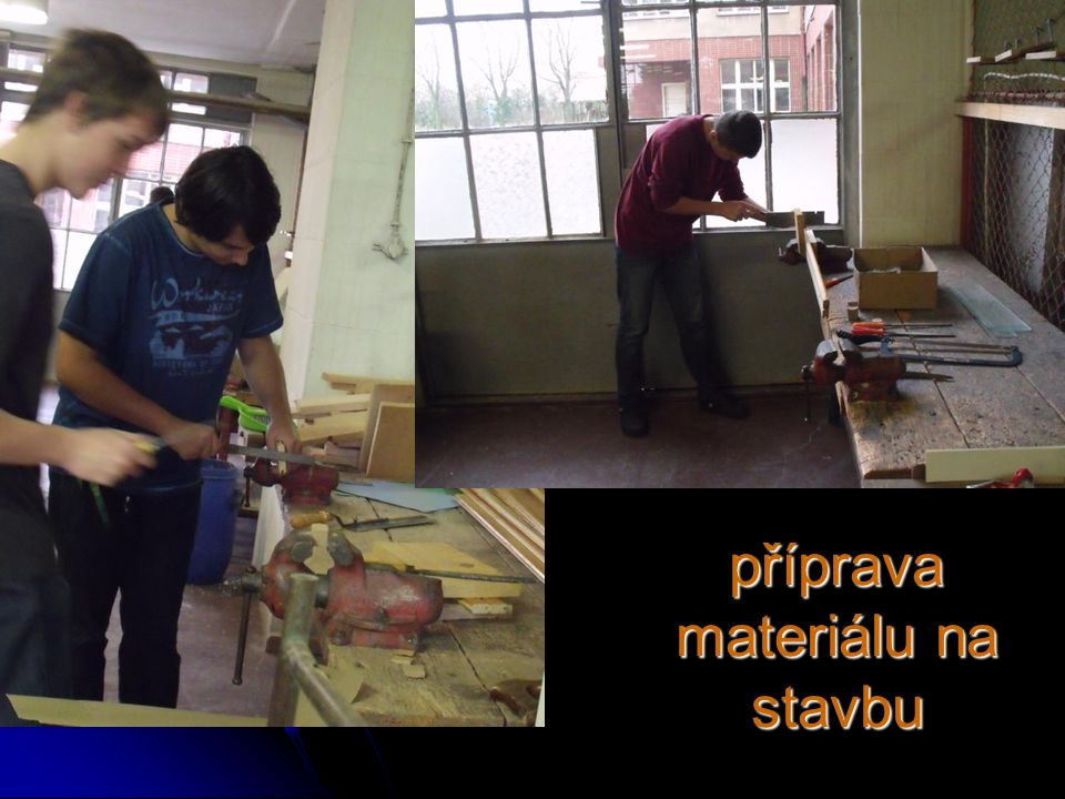 příprava materiálu na stavbu