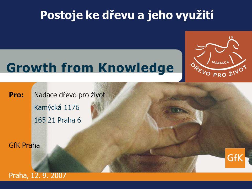 GfK PrahaAd Hoc ResearchPostoje ke dřevu a jeho využití Červenec/srpen 2007 1 G r o w t h f r o m K n o w l e d g eG r o w t h f r o m K n o w l e d g