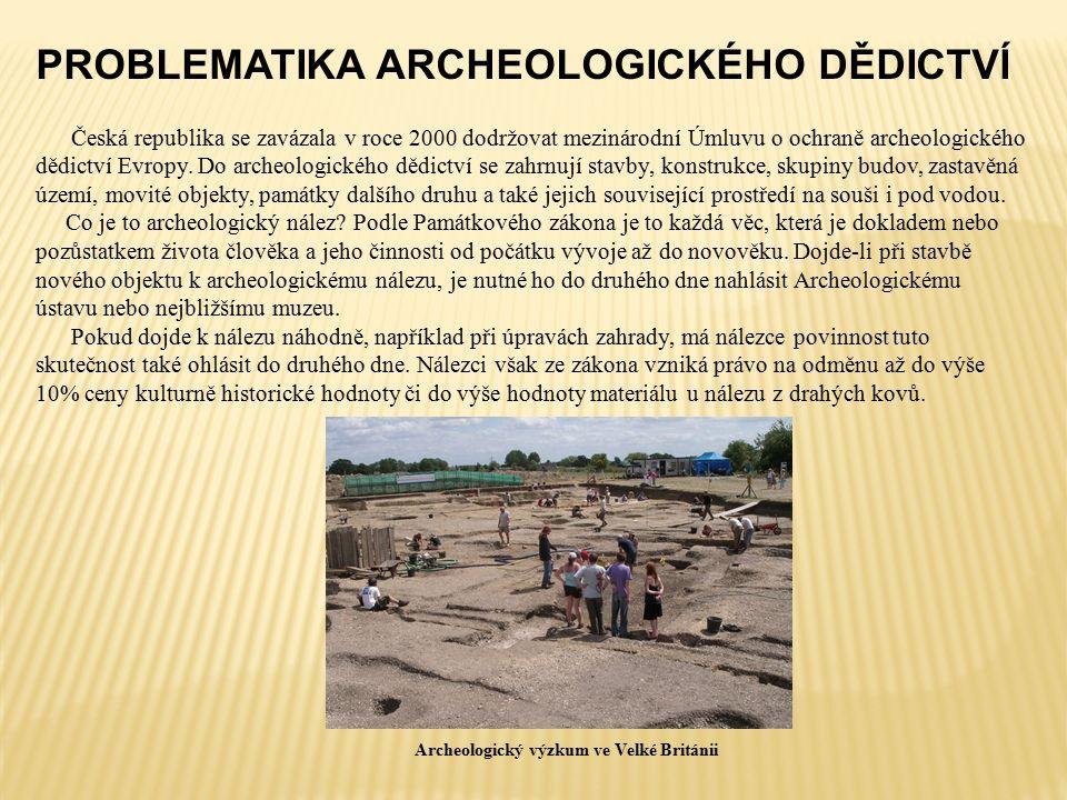 PROBLEMATIKA ARCHEOLOGICKÉHO DĚDICTVÍ Česká republika se zavázala v roce 2000 dodržovat mezinárodní Úmluvu o ochraně archeologického dědictví Evropy.
