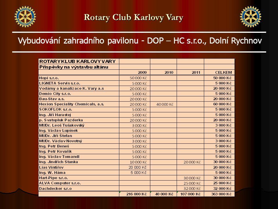 Rotary Club Karlovy Vary Vybudování zahradního pavilonu - DOP – HC s.r.o., Dolní Rychnov