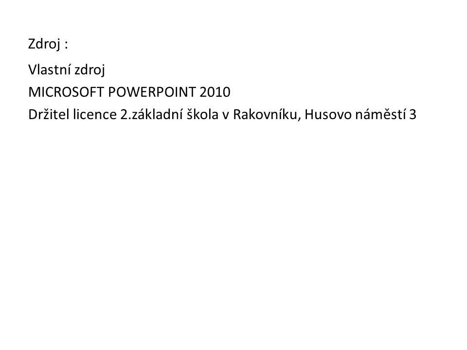 Zdroj : Vlastní zdroj MICROSOFT POWERPOINT 2010 Držitel licence 2.základní škola v Rakovníku, Husovo náměstí 3