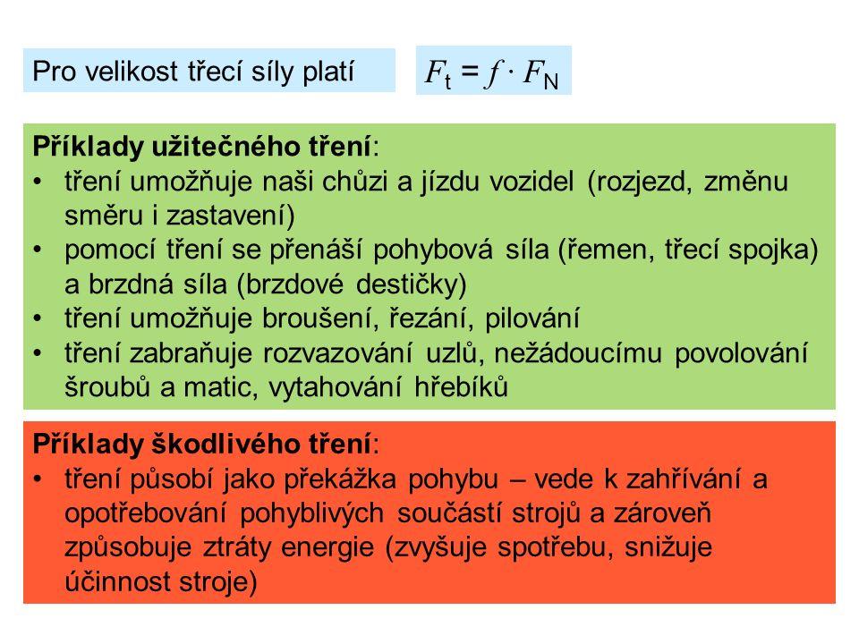 Pro velikost třecí síly platí F t = f ∙ F N Příklady užitečného tření: tření umožňuje naši chůzi a jízdu vozidel (rozjezd, změnu směru i zastavení) pomocí tření se přenáší pohybová síla (řemen, třecí spojka) a brzdná síla (brzdové destičky) tření umožňuje broušení, řezání, pilování tření zabraňuje rozvazování uzlů, nežádoucímu povolování šroubů a matic, vytahování hřebíků Příklady škodlivého tření: tření působí jako překážka pohybu – vede k zahřívání a opotřebování pohyblivých součástí strojů a zároveň způsobuje ztráty energie (zvyšuje spotřebu, snižuje účinnost stroje)