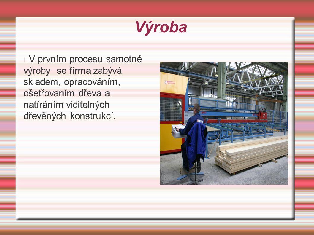 Výroba V prvním procesu samotné výroby se firma zabývá skladem, opracováním, ošetřovaním dřeva a natíráním viditelných dřevěných konstrukcí.