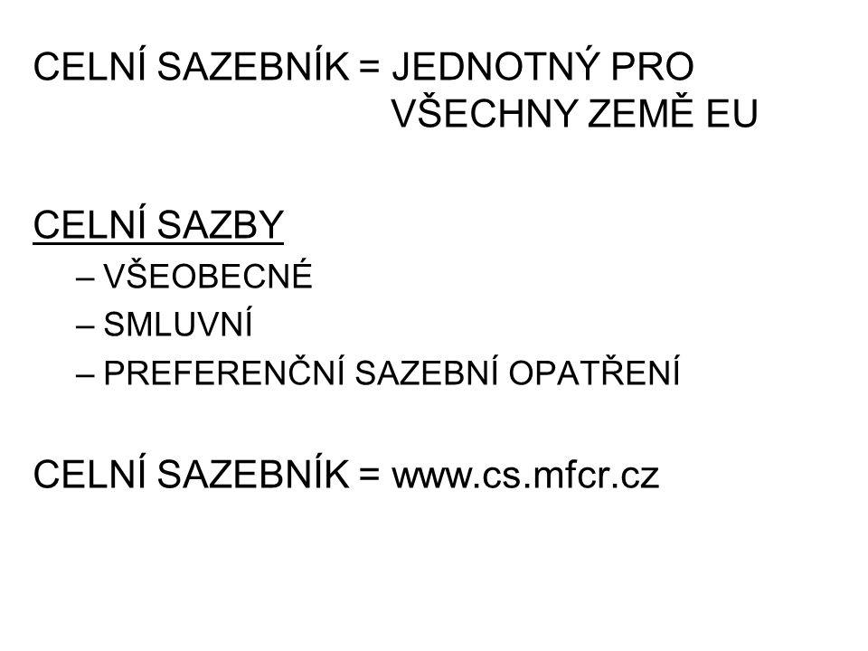 CELNÍ SAZEBNÍK = JEDNOTNÝ PRO VŠECHNY ZEMĚ EU CELNÍ SAZBY –VŠEOBECNÉ –SMLUVNÍ –PREFERENČNÍ SAZEBNÍ OPATŘENÍ CELNÍ SAZEBNÍK = www.cs.mfcr.cz