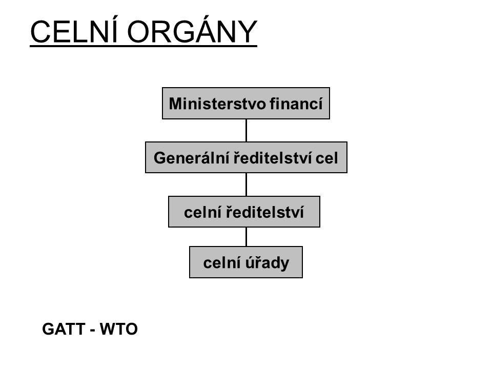 CELNÍ ORGÁNY Ministerstvo financí Generální ředitelství cel celní ředitelství celní úřady GATT - WTO