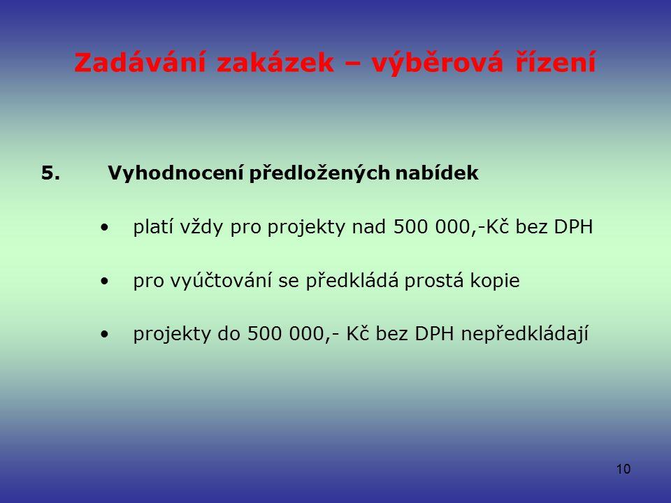 Zadávání zakázek – výběrová řízení 5.