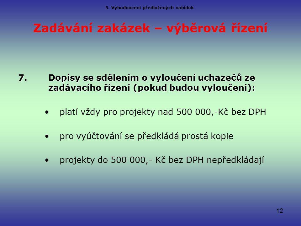 Zadávání zakázek – výběrová řízení 7.