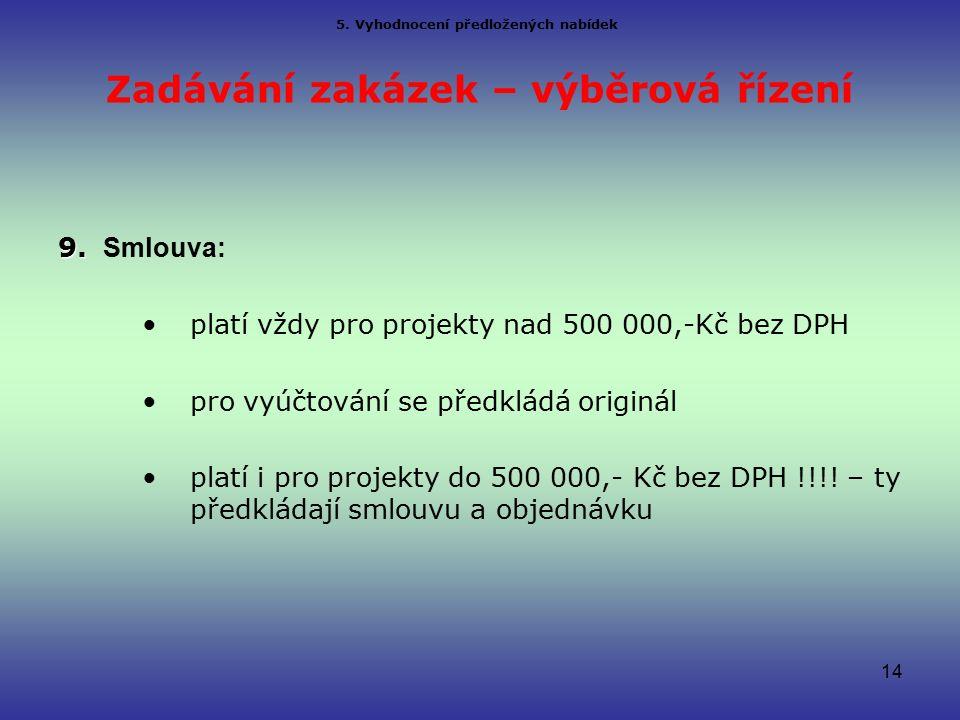 Zadávání zakázek – výběrová řízení 9. 9.