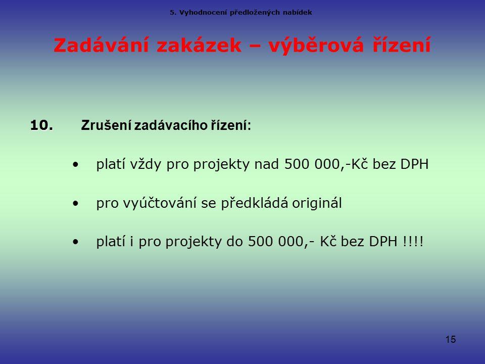 Zadávání zakázek – výběrová řízení 10. 10.