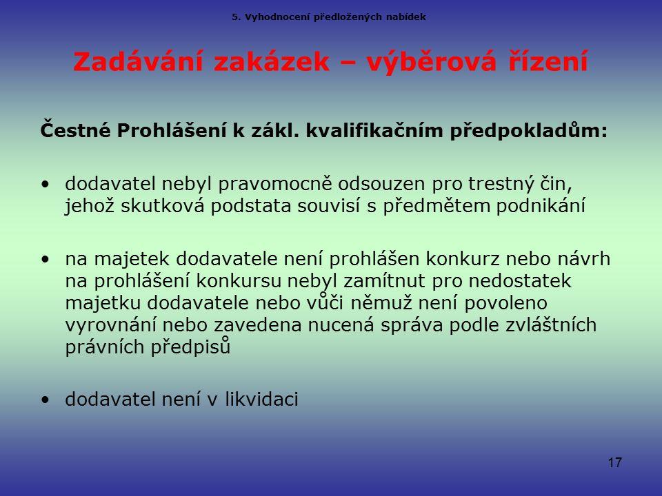 Zadávání zakázek – výběrová řízení Čestné Prohlášení k zákl.