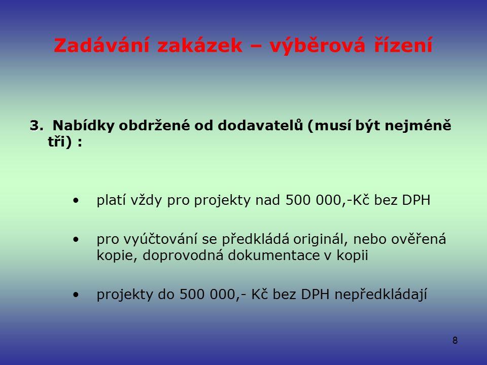 Zadávání zakázek – výběrová řízení 3. 3.