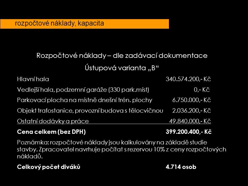 """rozpočtové náklady, kapacita Rozpočtové náklady – dle zadávací dokumentace Ústupová varianta """"B"""" Hlavní hala340.574.200,- Kč Vedlejší hala, podzemní g"""