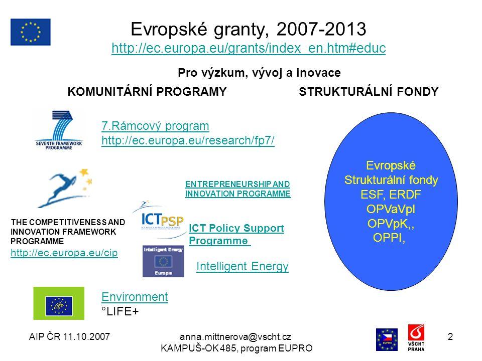 AIP ČR 11.10.2007anna.mittnerova@vscht.cz KAMPUŠ-OK 485, program EUPRO 2 Evropské granty, 2007-2013 http://ec.europa.eu/grants/index_en.htm#educ http://ec.europa.eu/grants/index_en.htm#educ Evropské Strukturální fondy ESF, ERDF OPVaVpI OPVpK,, OPPI, KOMUNITÁRNÍ PROGRAMY ENTREPRENEURSHIP AND INNOVATION PROGRAMME Intelligent Energy Environment °LIFE+ 7.Rámcový program http://ec.europa.eu/research/fp7/ THE COMPETITIVENESS AND INNOVATION FRAMEWORK PROGRAMME http://ec.europa.eu/cip http://ec.europa.eu/cip ICT Policy Support Programme Pro výzkum, vývoj a inovace STRUKTURÁLNÍ FONDY