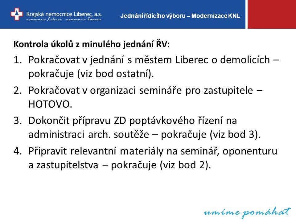 Jednání řídícího výboru – Modernizace KNL Kontrola úkolů z minulého jednání ŘV: 1.Pokračovat v jednání s městem Liberec o demolicích – pokračuje (viz bod ostatní).