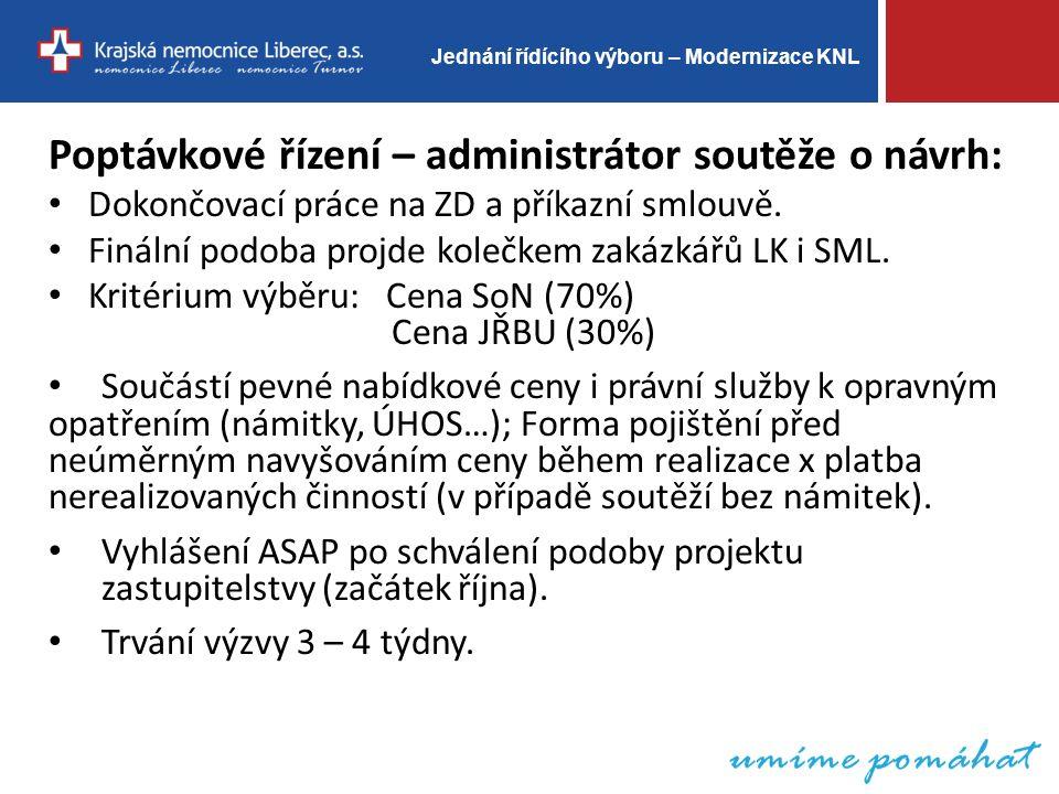 Jednání řídícího výboru – Modernizace KNL Poptávkové řízení – administrátor soutěže o návrh: Dokončovací práce na ZD a příkazní smlouvě.