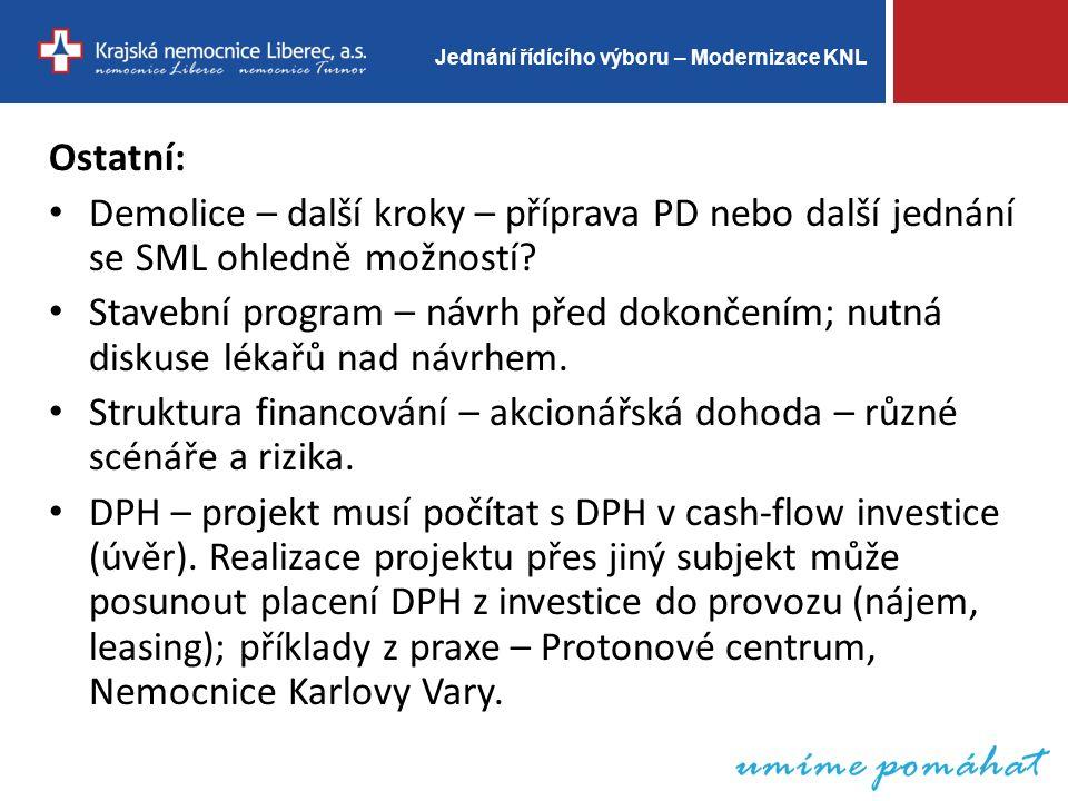 Jednání řídícího výboru – Modernizace KNL Ostatní: Demolice – další kroky – příprava PD nebo další jednání se SML ohledně možností.