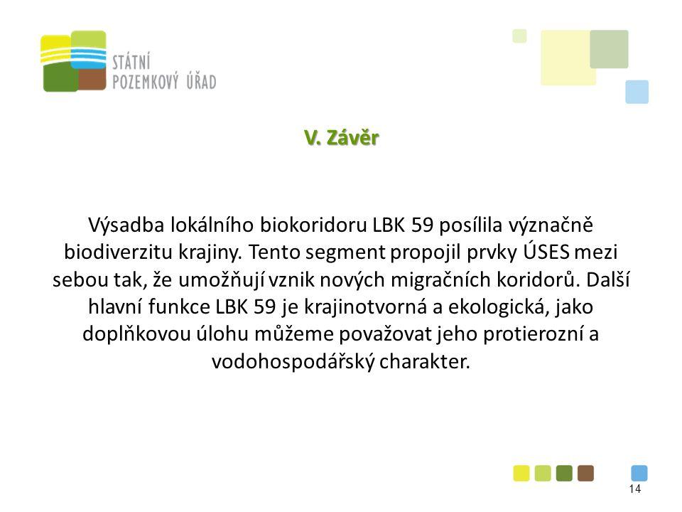 V. Závěr Výsadba lokálního biokoridoru LBK 59 posílila význačně biodiverzitu krajiny.