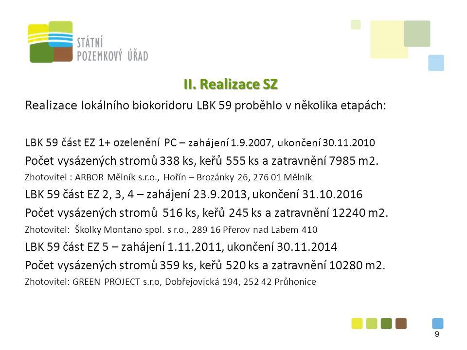 II. Realizace SZ Realizace lokálního biokoridoru LBK 59 proběhlo v několika etapách: LBK 59 část EZ 1+ ozelenění PC – zahájení 1.9.2007, ukončení 30.1