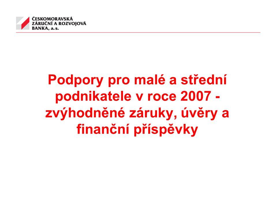 Podpory pro malé a střední podnikatele v roce 2007 - zvýhodněné záruky, úvěry a finanční příspěvky