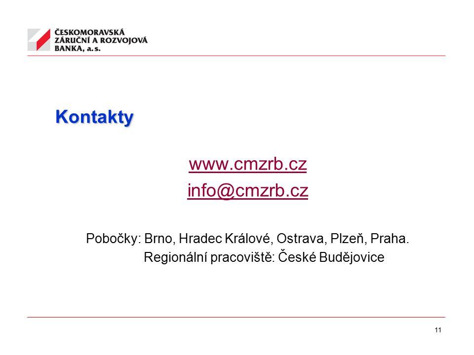 11 Kontakty www.cmzrb.cz info@cmzrb.cz Pobočky: Brno, Hradec Králové, Ostrava, Plzeň, Praha. Regionální pracoviště: České Budějovice