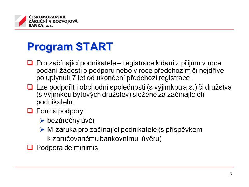 3 Program START  Pro začínající podnikatele – registrace k dani z příjmu v roce podání žádosti o podporu nebo v roce předchozím či nejdříve po uplynutí 7 let od ukončení předchozí registrace.