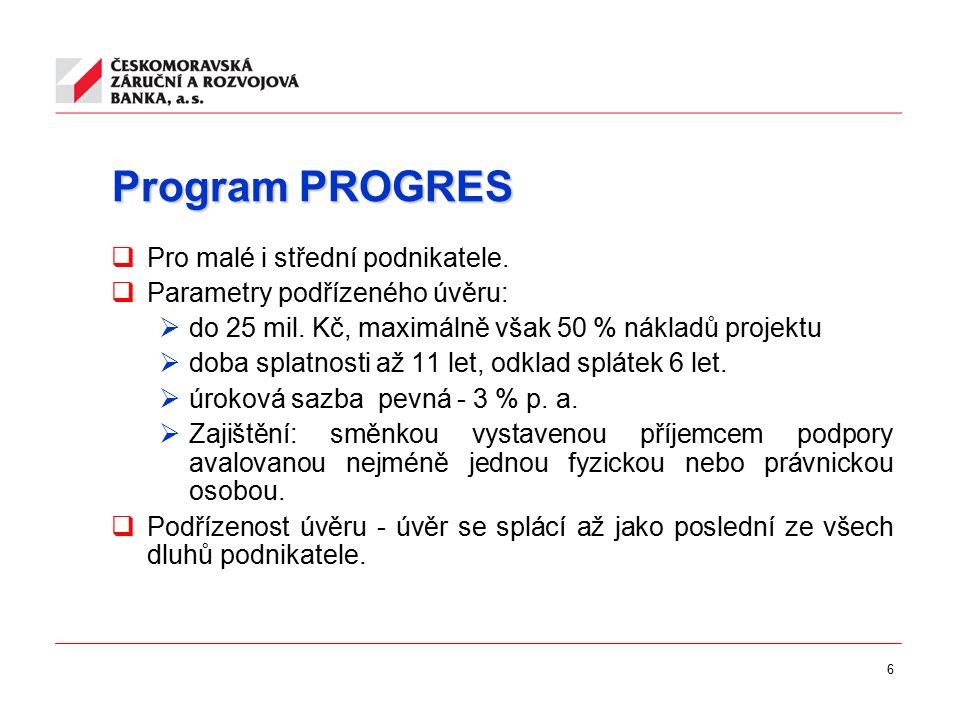 6 Program PROGRES  Pro malé i střední podnikatele.  Parametry podřízeného úvěru:  do 25 mil. Kč, maximálně však 50 % nákladů projektu  doba splatn