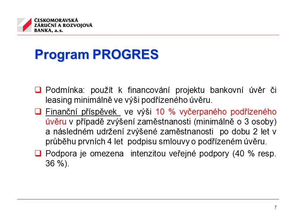 7 Program PROGRES  Podmínka: použít k financování projektu bankovní úvěr či leasing minimálně ve výši podřízeného úvěru.  Finanční příspěvek ve výši