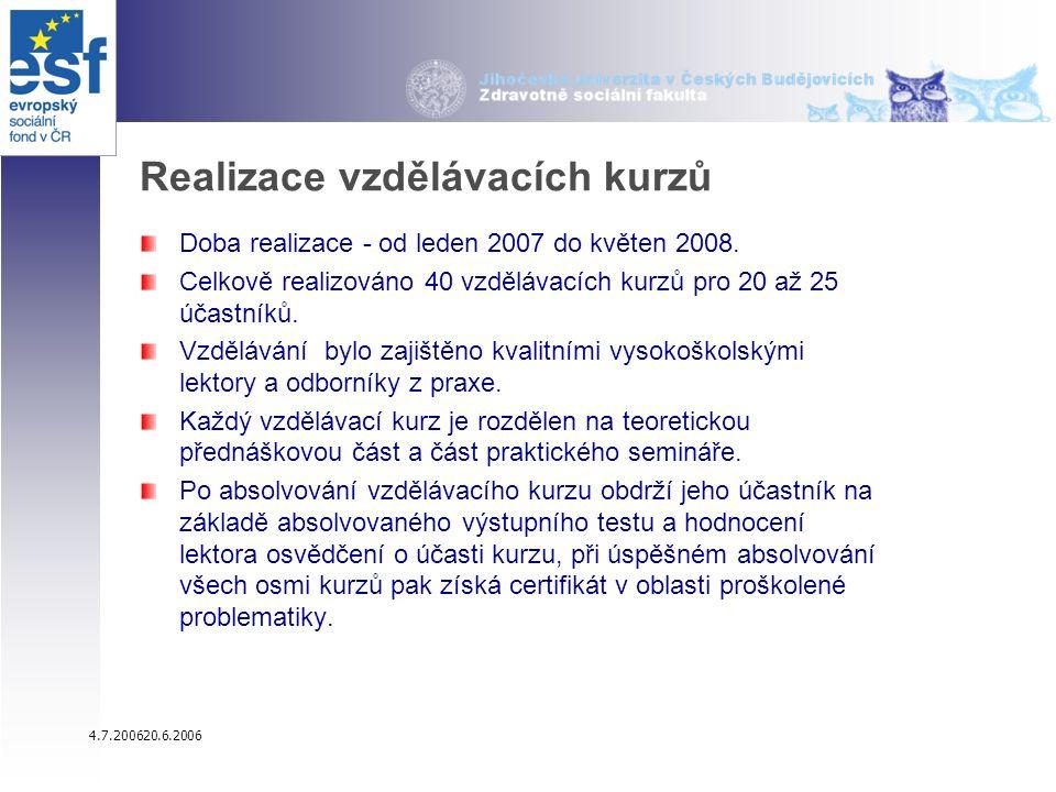 4.7.200620.6.2006 Realizace vzdělávacích kurzů Doba realizace - od leden 2007 do květen 2008.