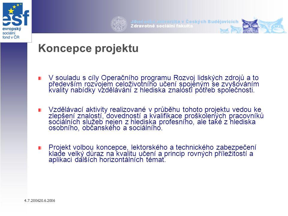 4.7.200620.6.2006 Koncepce projektu V souladu s cíly Operačního programu Rozvoj lidských zdrojů a to především rozvojem celoživotního učení spojeným se zvyšováním kvality nabídky vzdělávání z hlediska znalostí potřeb společnosti.