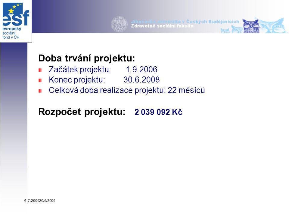 4.7.200620.6.2006 Doba trvání projektu: Začátek projektu: 1.9.2006 Konec projektu: 30.6.2008 Celková doba realizace projektu: 22 měsíců Rozpočet projektu: 2 039 092 Kč