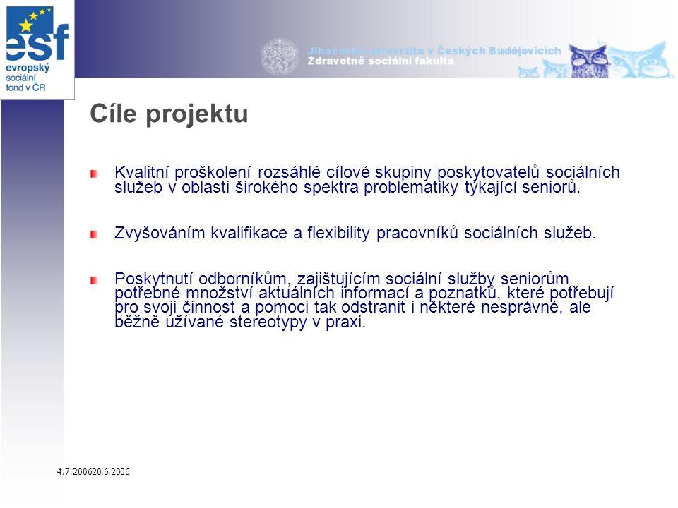 4.7.200620.6.2006 Cíle projektu Kvalitní proškolení rozsáhlé cílové skupiny poskytovatelů sociálních služeb v oblasti širokého spektra problematiky týkající seniorů.
