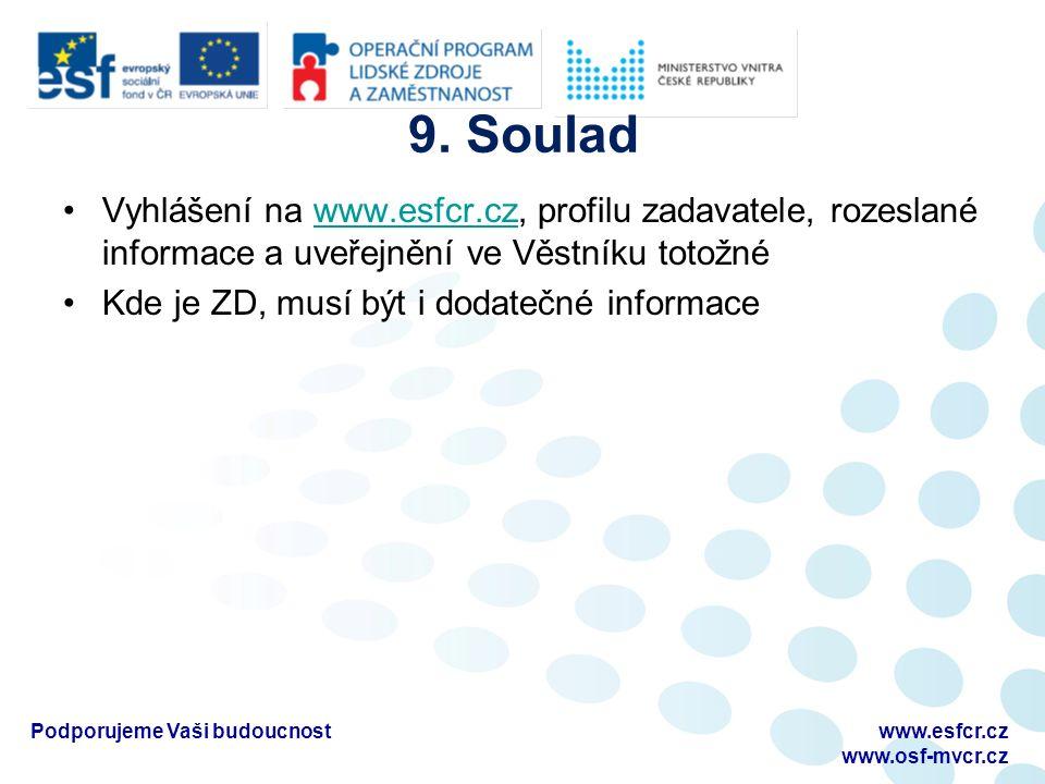 9. Soulad Vyhlášení na www.esfcr.cz, profilu zadavatele, rozeslané informace a uveřejnění ve Věstníku totožnéwww.esfcr.cz Kde je ZD, musí být i dodate
