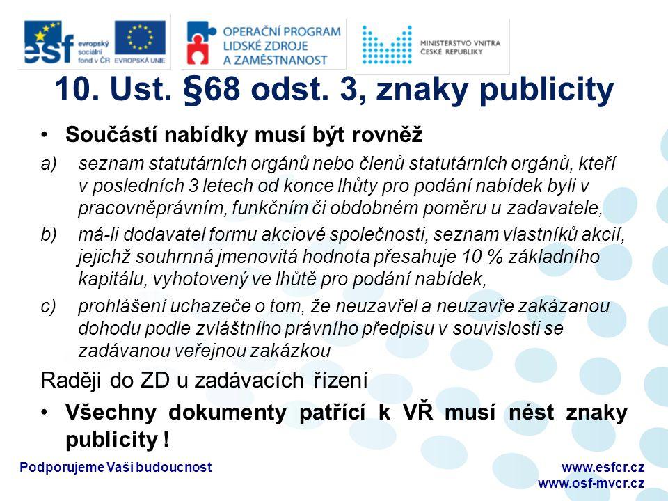 10. Ust. §68 odst. 3, znaky publicity Součástí nabídky musí být rovněž a)seznam statutárních orgánů nebo členů statutárních orgánů, kteří v posledních