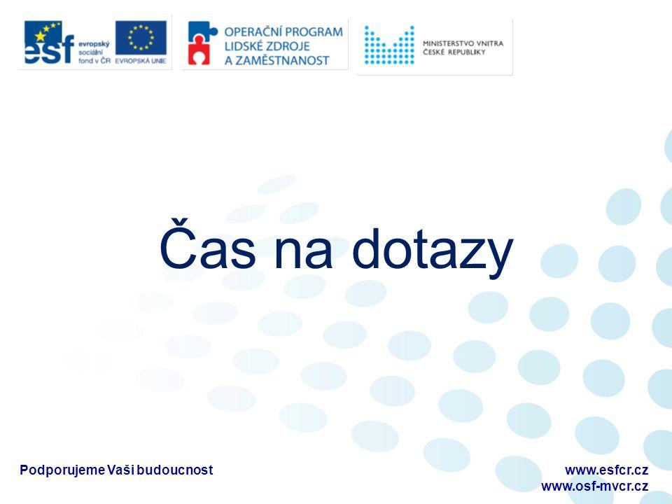 Čas na dotazy www.esfcr.cz www.osf-mvcr.cz Podporujeme Vaši budoucnost