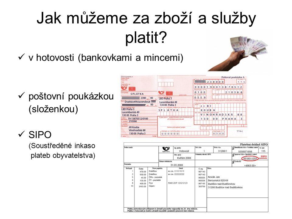 dokladů bank pro vklady a výběry inkasem příkazem k úhradě