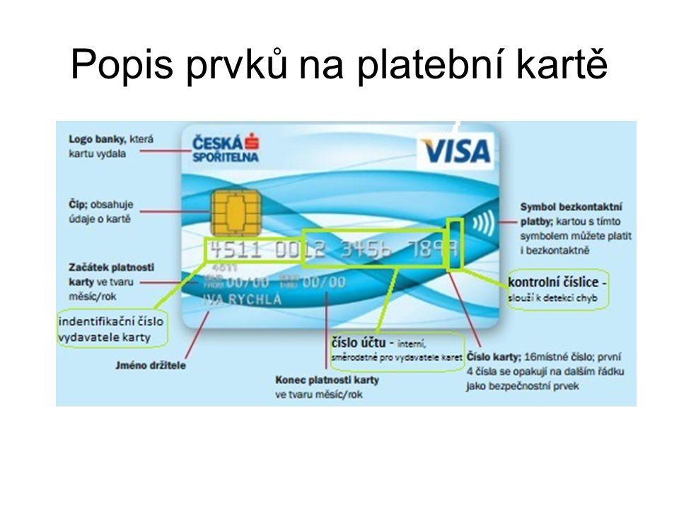 Popis prvků na platební kartě