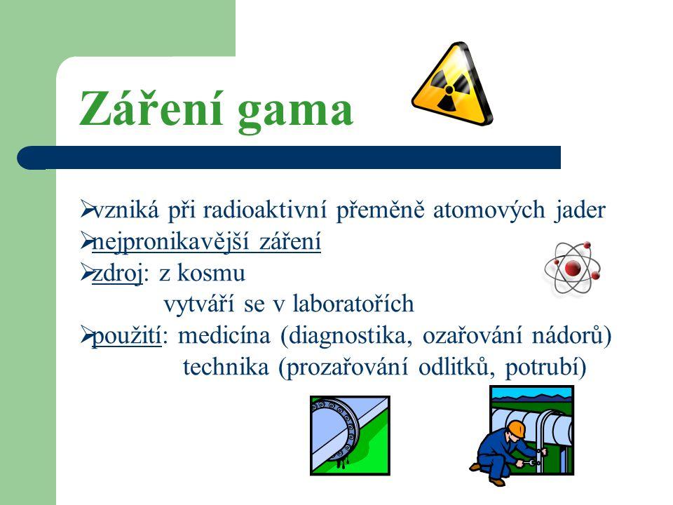 Záření gama  vzniká při radioaktivní přeměně atomových jader  nejpronikavější záření  zdroj: z kosmu vytváří se v laboratořích  použití: medicína (diagnostika, ozařování nádorů) technika (prozařování odlitků, potrubí)