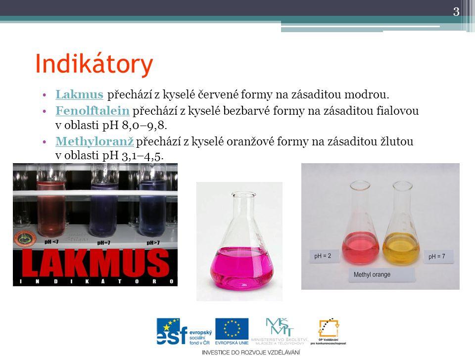 Indikátory Lakmus přechází z kyselé červené formy na zásaditou modrou.Lakmus Fenolftalein přechází z kyselé bezbarvé formy na zásaditou fialovou v oblasti pH 8,0–9,8.Fenolftalein Methyloranž přechází z kyselé oranžové formy na zásaditou žlutou v oblasti pH 3,1–4,5.Methyloranž 3