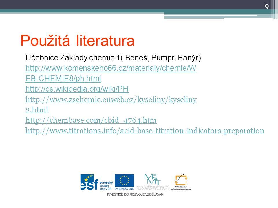 Použitá literatura Učebnice Základy chemie 1( Beneš, Pumpr, Banýr) http://www.komenskeho66.cz/materialy/chemie/W EB-CHEMIE8/ph.html http://cs.wikipedi