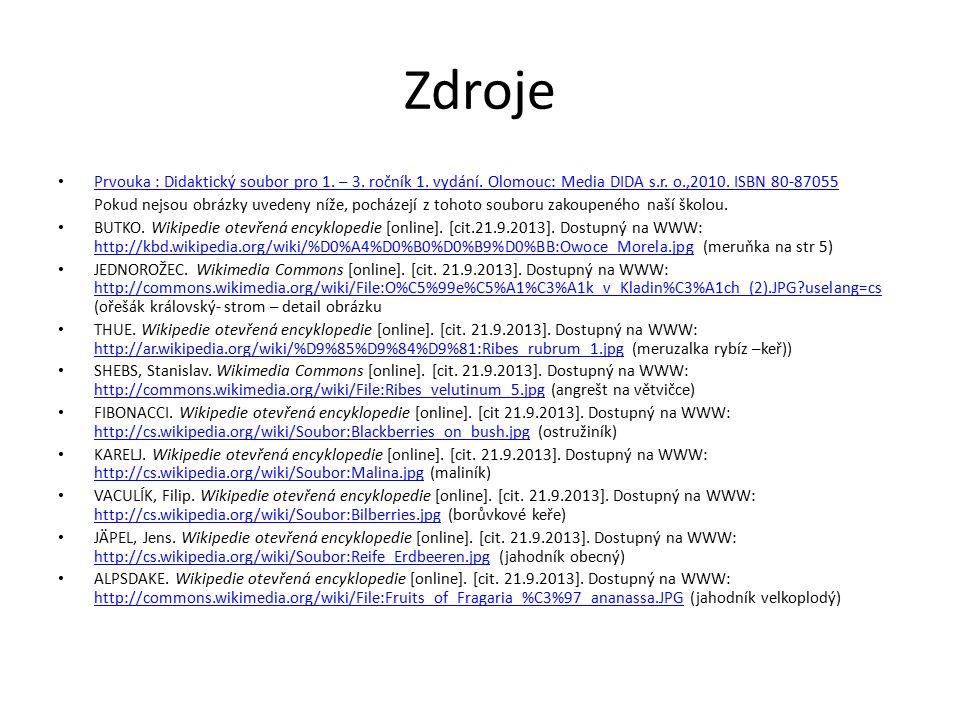 Zdroje Prvouka : Didaktický soubor pro 1. – 3. ročník 1. vydání. Olomouc: Media DIDA s.r. o.,2010. ISBN 80-87055 Pokud nejsou obrázky uvedeny níže, po