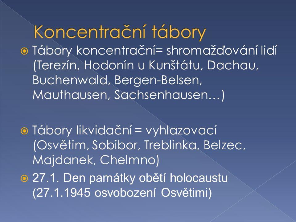  Tábory koncentrační= shromažďování lidí (Terezín, Hodonín u Kunštátu, Dachau, Buchenwald, Bergen-Belsen, Mauthausen, Sachsenhausen…)  Tábory likvidační = vyhlazovací (Osvětim, Sobibor, Treblinka, Belzec, Majdanek, Chelmno)  27.1.