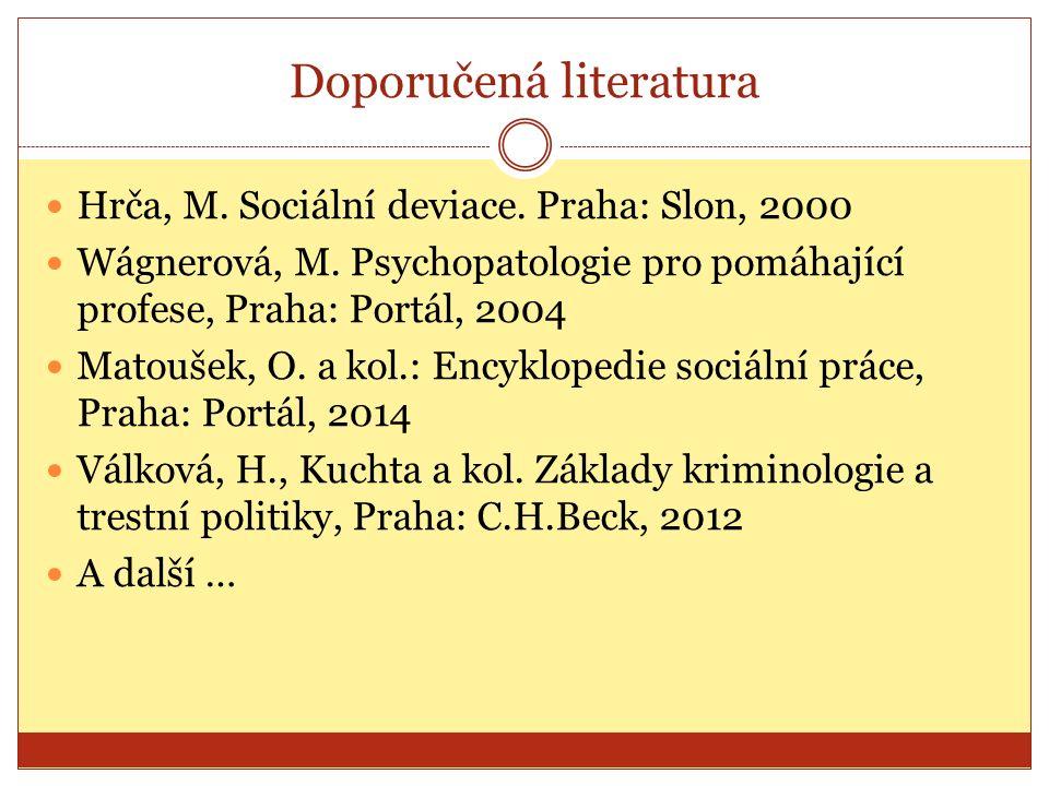 Doporučená literatura Hrča, M. Sociální deviace. Praha: Slon, 2000 Wágnerová, M.