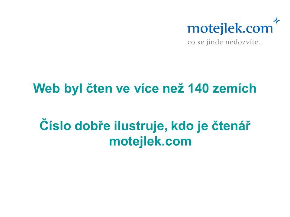 Web byl čten ve více než 140 zemích Číslo dobře ilustruje, kdo je čtenář motejlek.com