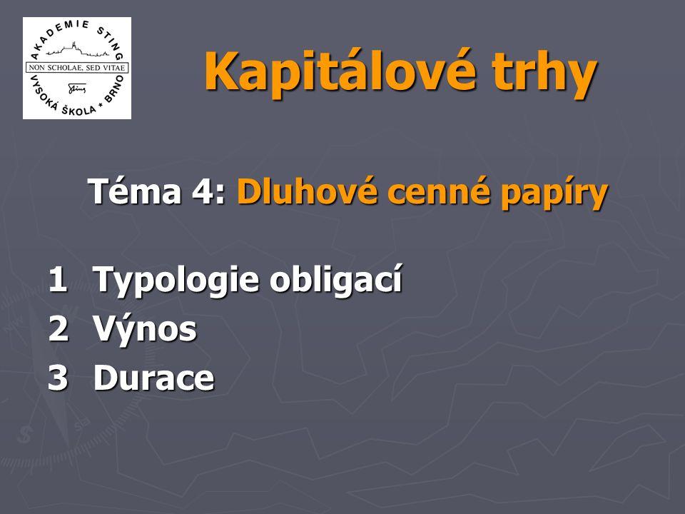 Akademie STING: KAT4z62 Typy dluhopisů  s pevným úročením  s variabilním úročením  s nulovým kupónem  konvertibilní  svolatelné  perpetuity