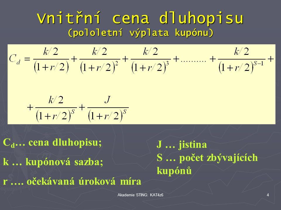 Akademie STING: KAT4z64 Vnitřní cena dluhopisu (pololetní výplata kupónu) C d … cena dluhopisu; k … kupónová sazba; r ….