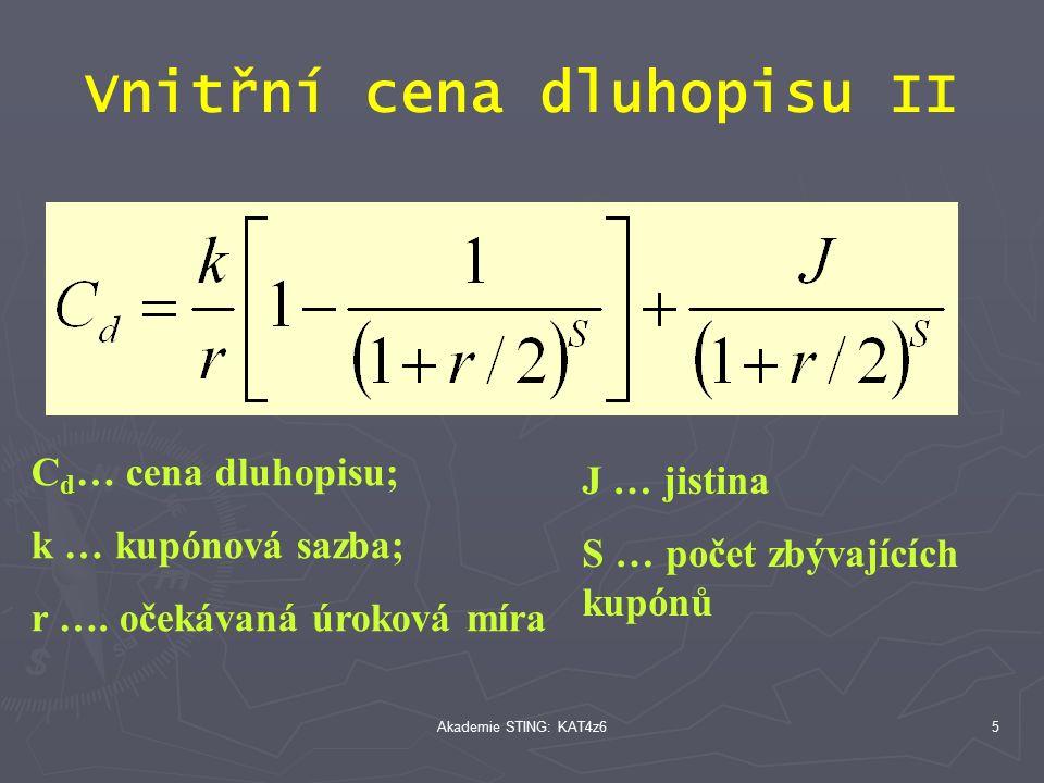 Akademie STING: KAT4z65 Vnitřní cena dluhopisu II C d … cena dluhopisu; k … kupónová sazba; r ….