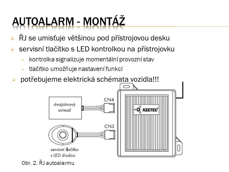  ŘJ se umisťuje většinou pod přístrojovou desku  servisní tlačítko s LED kontrolkou na přístrojovku kontrolka signalizuje momentální provozní stav tlačítko umožňuje nastavení funkcí  potřebujeme elektrická schémata vozidla!!.