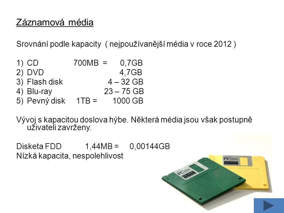 Záznamová média Srovnání podle kapacity ( nejpoužívanější média v roce 2012 ) 1)CD 700MB = 0,7GB 2)DVD 4,7GB 3)Flash disk 4 – 32 GB 4)Blu-ray 23 – 75