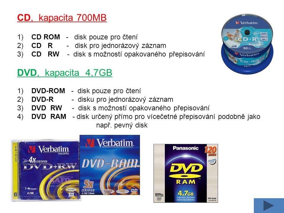 CD, kapacita 700MB 1) CD ROM - disk pouze pro čtení 2) CD R - disk pro jednorázový záznam 3) CD RW - disk s možností opakovaného přepisování DVD, kapa