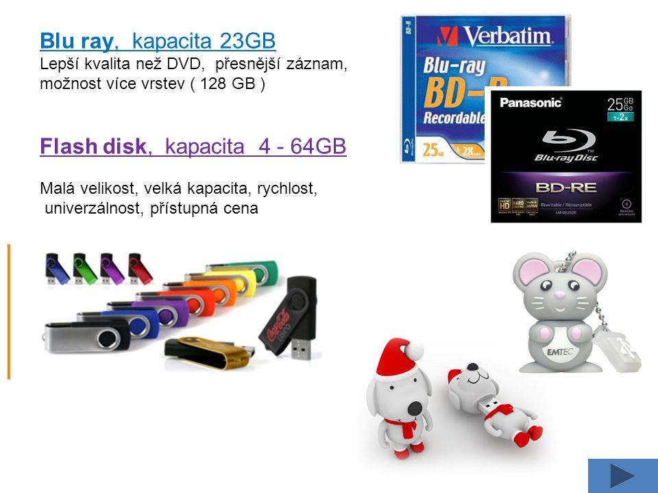 Blu ray, kapacita 23GB Lepší kvalita než DVD, přesnější záznam, možnost více vrstev ( 128 GB ) Flash disk, kapacita 4 - 64GB Malá velikost, velká kapa